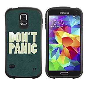 Hybrid Anti-Shock Bumper Case for Samsung Galaxy S5 / Don't Panic Sign