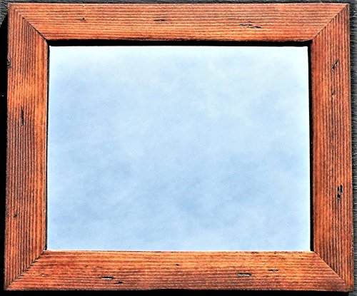 Hand Crafted Red Oak Stained Wood Framed Mirror, Handmade Pine Wood Rustic Red Natural Stain Mirror, Distressed Pine Wood Red Oak Stain Vanity Mirror (Red With Frame Mirror)