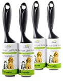 Pet Hair Lint Roller Stick w/ Super Sticky Adhesive (4Pack) | Residue-Free Pet Hair Remover Tool | Easy-Tear Sheets | Professional Lint Rollers for Clothes, Furniture, Upholstery | 380 Sheets in Total