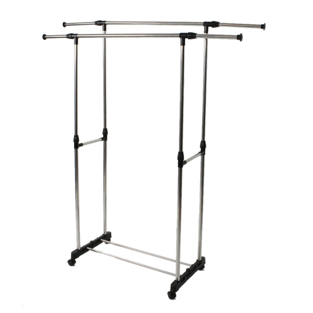 MOONBUY Clothes Rack,Dual-bar Vertically & Horizontally-stretching Stand Garment Rack Clothes Hangers with Shoe Shelf for Home Bedroom Guestroom Hotel Rooms Silver