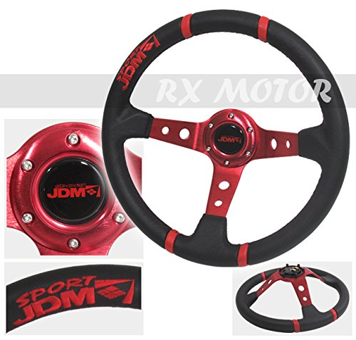 Rxmotor Steering Wheel Red Black Pvc Leather with Red Stitch