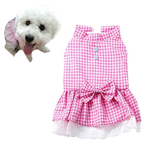 Petea Plaid Bowknot Tutu Dog Dress Vest Apparel Skirt Clothes Pet Puppy Princess Clothes for Dogs and Cats