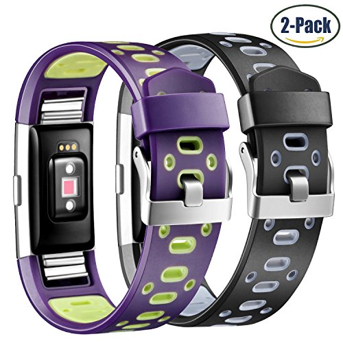 Fitbit Charge 2 Bands, Hotodeal Adjustable TPU Replacement Accessory Sport Band for Fitbit Charge 2 Fitness Wristband, Breathable, Pack of 2