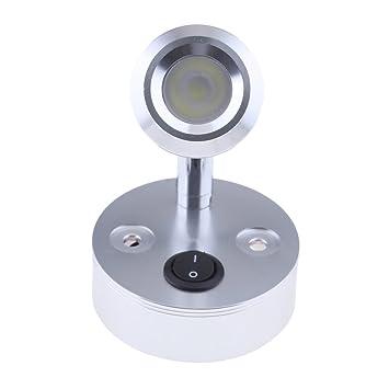 12V 3W LED Spot Reading Lights Switch for Camper Caravan Motorhome Silver