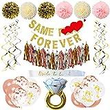 Bachelorette Party Decorations Bridal Shower Supplies Bride to be kit - Same P Forever Banner,Sash,Foil Tassels,Engagement Ring Balloon,Pom Poms Flowers, Balloons,Swirl
