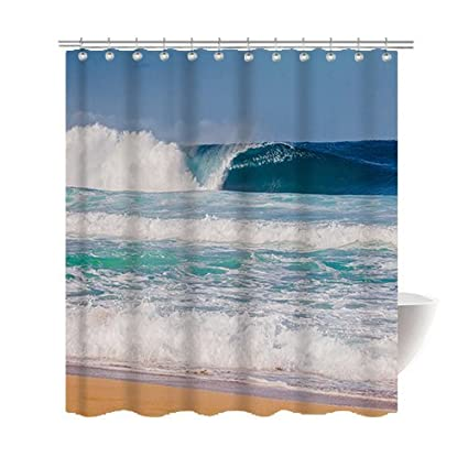 Gwein Beautiful Hawaiian Beach Shower Curtain Polyester Fabric Mildew Proof Waterproof Cloth Room Decor Curtains 66x72