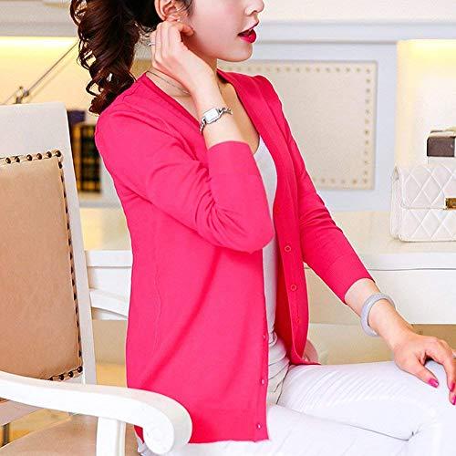 Moda Outerwear Button Lunga Pullover Giovane Di Neck Primaverile Autunno Manica Rose Maglie Grazioso Elegante V Monocromo Moda Donna Outwear wqIpBq4