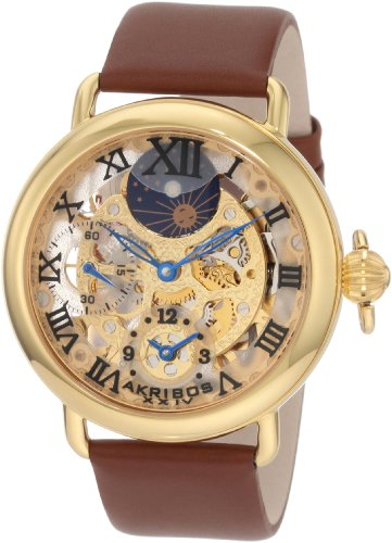 Akribos XXIV Men's AKR451YG Bravura Mechanical Dual Time Skeleton Gold-Tone Watch