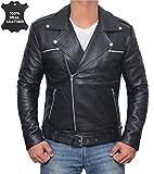 Decrum Motorcycle Leather Jacket Men - Negan Black Mens Jackets for Biker