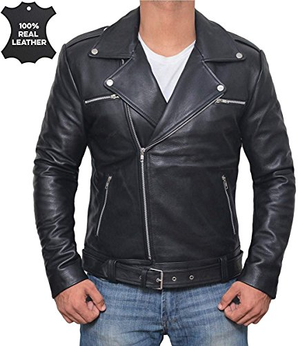 Decrum Motorcycle Leather Jacket Men - Negan Black Mens Jackets for Biker