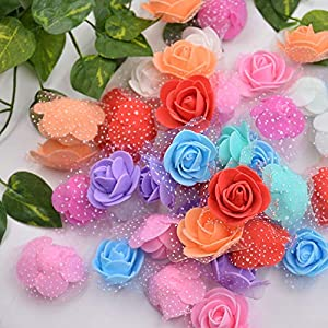 Aosreng 50Pcs Lace Mini Foam Rose Handmade PE Artificial Flowers for Wedding Home Decoration DIY Marriage Flores Rosa Crafts Accessories 12