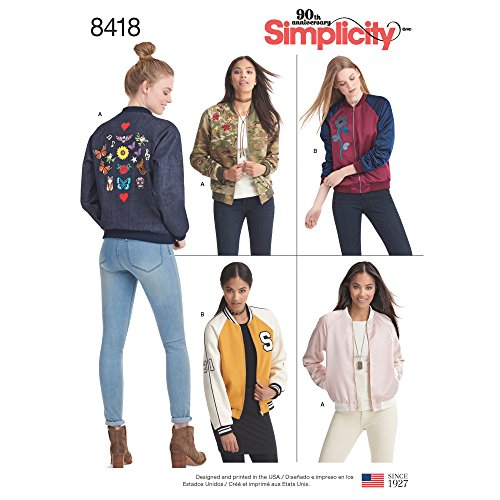 Simplicity Pattern 8418 R5 Misses' Lined Bomber Jacket with Fabric and Trim Variations, Size 14-22