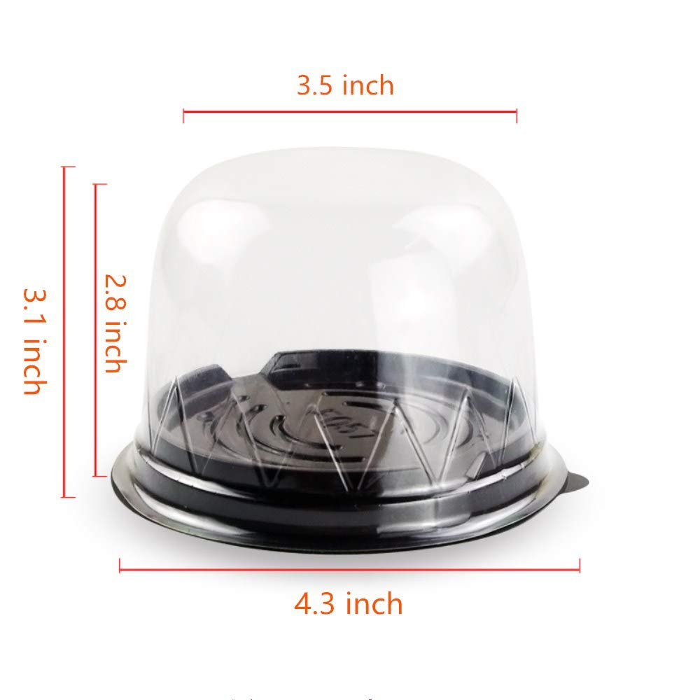BBC 3 Inch High Dome Plastic Cake Box, Transparent Round Lids, 4.3X3.1 Inch, 50 Counts, Black Color by BBC Bakery (Image #3)