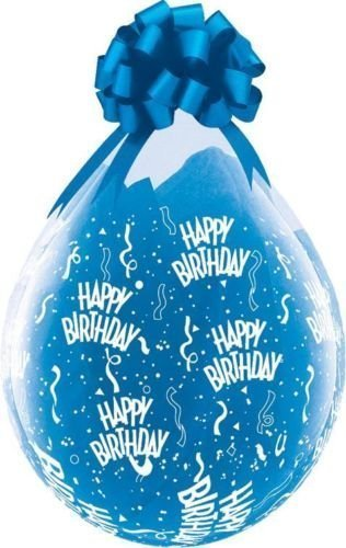 Birthday-A-Round Qualatex 18  Clear Balloons x 5 - Stuffing or Air Fill by Qualatex