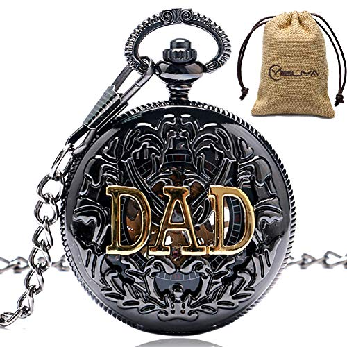 MILIYA Mens Vintage Dad Father's Day Black Hollow Mechanical Pocket Watch with Chain Gift Arabic Numerals Clock