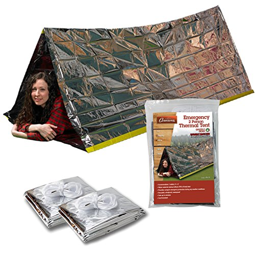 Emergency Thermal Tent- Reflective Mylar Survival Shelter- XL Size Waterproof Tube Tent Retains Heat and Fits 2 Adults in All Weather- 2 Pack (Survival Tube Tent)