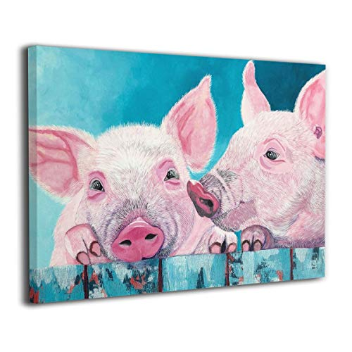 SRuhqu Canvas Wall Art Prints Farm Pig Friend Funny -Picture Paintings Contemporary Decorative Giclee Artwork Wall Decor-Wood Frame Ready to Hang