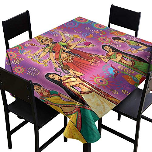 Glifporia Square Tablecloth Vinyl Fitted Bengal,Asian Woman in Colorful Dress Cartoon Style Figures on Paisley and Flower Backdrop,Multicolor,W50 x L50 Table Cover