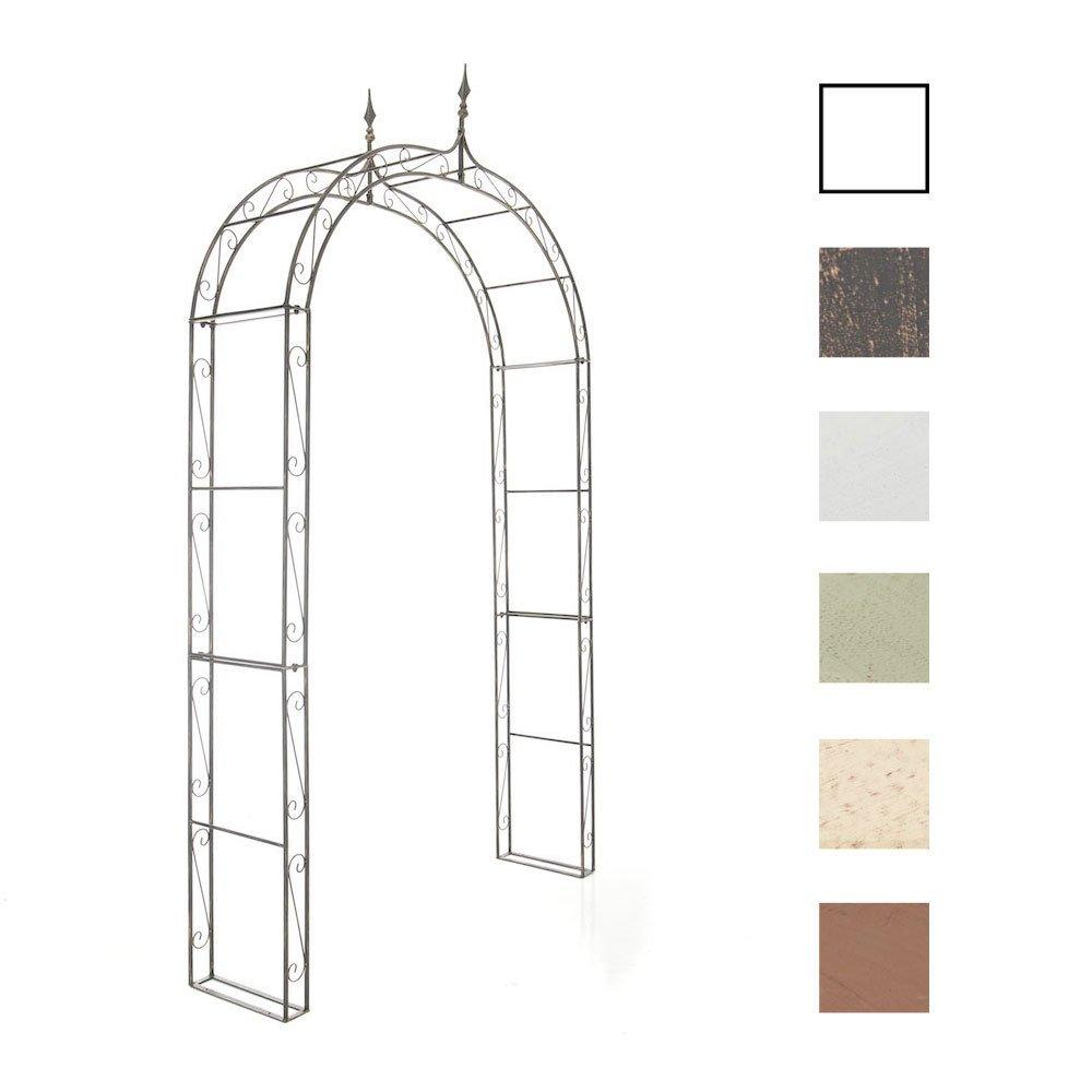 CLP Garden Arch LENZ, made of powder-coated iron, 264 x 147 x 37 cm (H x W x D), passage height 230 cm (approx.: 7.5 ft) antique white