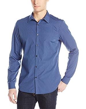Calvin Klein Men's Mini Stripe Poplin Long Sleeve Woven Shirt