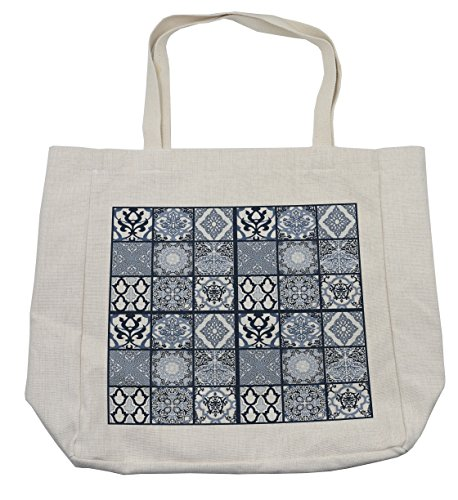 Lunarable Ethnic Shopping Bag, Antique Arabian Oriental Mosaic with Ornaments Eastern Geometric Tile, Eco-Friendly Reusable Bag for Groceries Beach Travel School & More, Cream by Lunarable