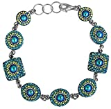 Mosaico Sterling Silver Dichroic Glass and Preciosa Czech Crystals Link Bracelet, 7.5''