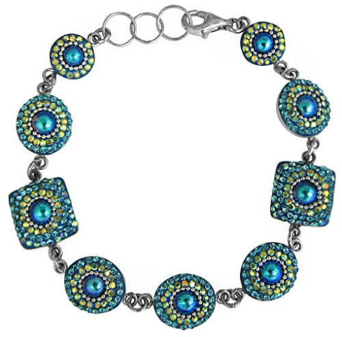 Mosaico Sterling Silver Dichroic Glass and Preciosa Czech Crystals Link Bracelet, 7.5'' by Dreamglass Mexico