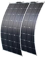 Zonnepaneel 200W 12V Flexibele Zonnepaneel 2 * 100W Hoge Efficiëntie Zonnecel Solar Panel Kit voor Boot, Auto, Caravan, Camper, 12v Batterij opladen(2×100W)