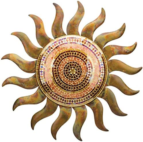 Regal Art Gift 29 Inches x 1.5 Inches x 29 Inches Metal Glass Flamed Copper Sun Wall Decor