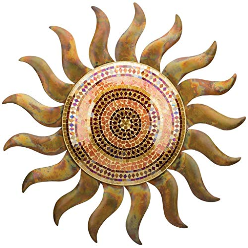 Regal Art & Gift 29 Inches x 1.5 Inches x 29 Inches Metal/Glass Flamed Copper Sun Wall Decor -