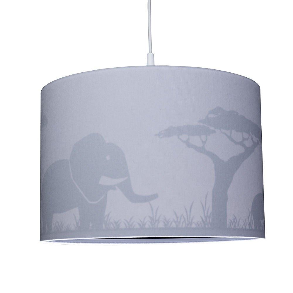 grau E14 WALDI Kinderzimmer Pendelleuchte mit Elefantenaufdruck