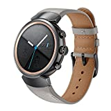 Kartice Compatible ASUS ZenWatch 3 Band,Vintage Genuine Leather Watch Band Strap Replacement Watchband with Secure Metal Clasp Buckle for ASUS ZenWatch 3 WI503Q (Grey-14mm)