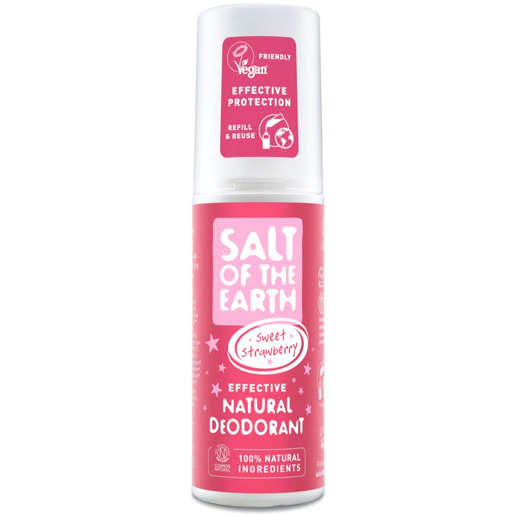 Salt Of the Earth Natural Deodorant Spray by Vegan Long Lasting Protection Leaping Bunny Approved Made in UK , Sweet Strawberry, 100 millilitre