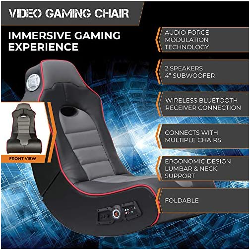 X Rocker Surge Wireless Bluetooth 2.1 Sound Rocking Video Gaming Floor Chair, 2 Speakers, Subwoofer, Bonded Faux Leather…