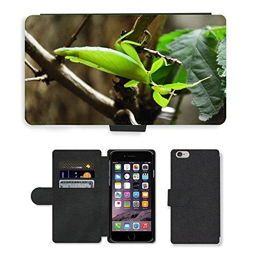 "Just Phone Cases PU Leather Flip Custodia Protettiva Case Cover per // M00129035 Praying Mantis animaux Feuille // Apple iPhone 6 PLUS 5.5"""