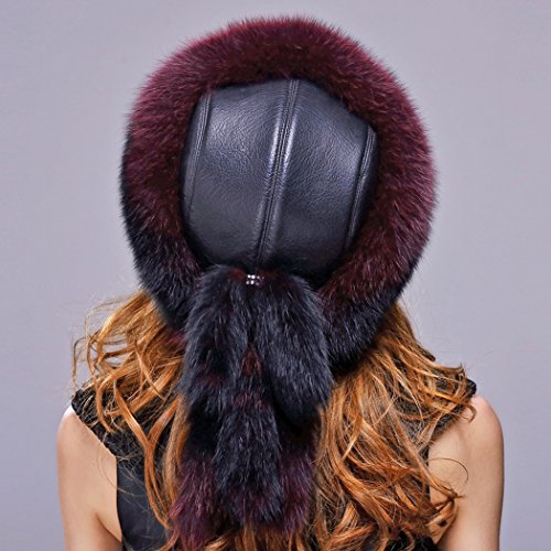 URSFUR Fox Fur Roller Hat with Leather Top and Tails (One Size Fits All, Black & Red) by URSFUR (Image #5)