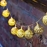 Globe String Lights,Goodia Battery Operated 20Ft 30 LED Gold Moroccan for Bedroom,Patio,Lawn,Landscape,Fairy Garden,Home,Wedding,Holiday,Christmas Tree,Party
