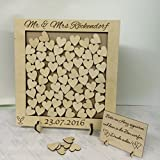 Personalised wedding guest book heart drop box wooden 56 hearts keepsake gift Wedding anniversary birthday rustic shabby chic 37x34cm by FSSS Ltd