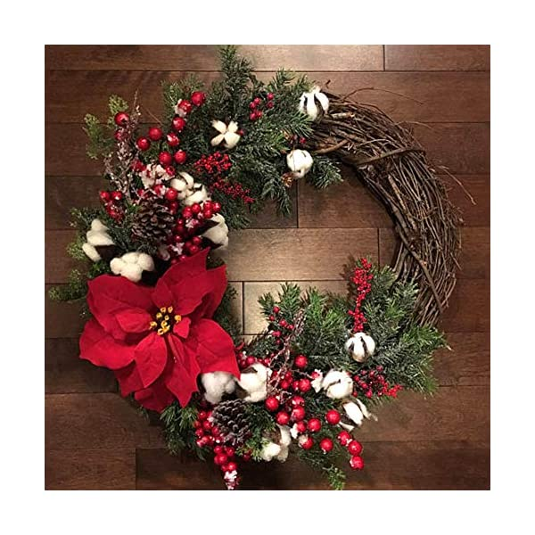 BEYST Christmas Decorative Wreath, 30 cm Diameter Handmade Artificial Flower Door Garland with Green Leaves, Spring Wreath for Front Door/Wall/Xmas/Wedding/Home Decor