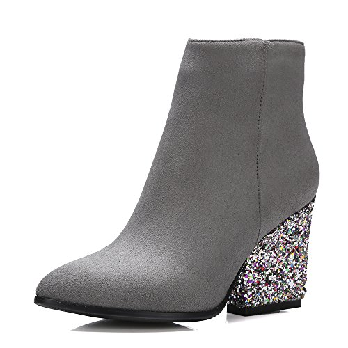 Meotina Brand Designer High Heels Women Ankle Boots Zip Glitter Thick Heel Ladies Boots Winter (8.5, - Boots Designer Ladies