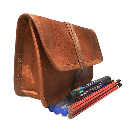 HandcraftElla Genuine Leather Stationery Pencil Pen Case Art Pouch Office College Smart Everyday Gift Vintage Unisex Brown