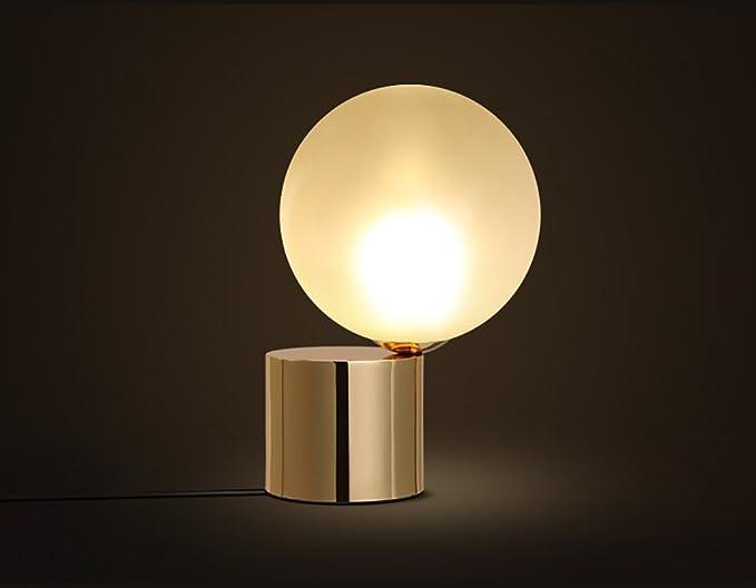 Lampada da tavolo da camera vetro paralume sferico moderno