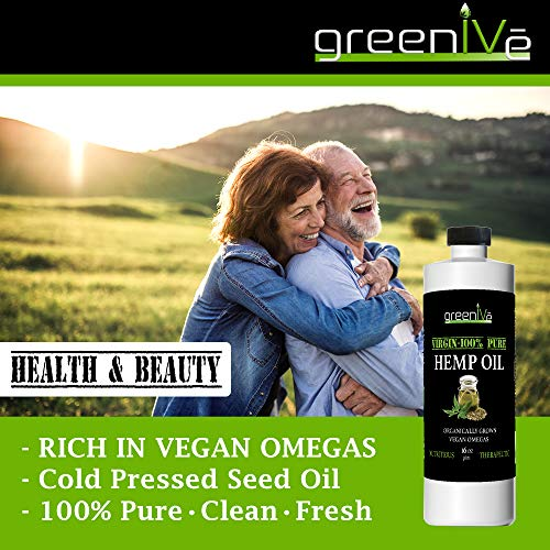 51W0maCRdKL - GreenIVe - Hemp Oil 910,000mg - Anti-Inflammatory - Vegan Omegas - Cold Pressed - Exclusively on Amazon (32 Ounce)
