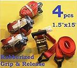 USA Premium Store 4PC 1-1/2'' x 15 ft Heavy Duty Ratchet Cargo Tie Down Straps 3000lbs Dual J-Hooks
