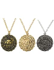 Mystart Pack of 3 Pirates of The Caribbean Necklace Aztec Skull Coin Medallion Necklace