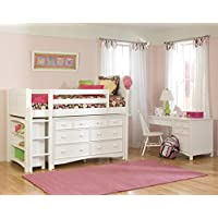 Bolton Furniture 9811500LS8020 Cottage Low Loft Storage Bed with Wakefield 7 Drawer Dresser and Bookcase, White