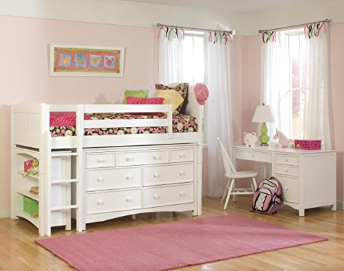 Bolton Furniture 9811500LS8020 Cottage Low Loft Storage Bed with Wakefield 7 Drawer Dresser and Bookcase, White (Wakefield Cottage)