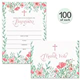 Baptism Invitations ( 100 ) & Matching Thank You Notes ( 100 ) Set with Envelopes, Large Family Church Celebration Infant Baby Girl Christened Write-in Invites & Folded Thank You Cards Best Value Pair