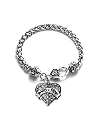 Poodle Mom Pave Heart Charm Bracelet Silver Plated Lobster Clasp Clear Crystal Charm