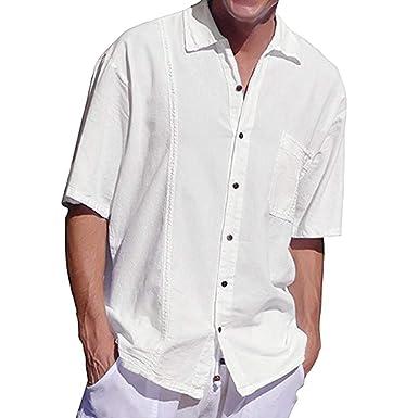 Camisa Hombres Manga Corta Tops Casual con Botones Algodón Lino Delgado Transpirable: Amazon.es: Ropa y accesorios